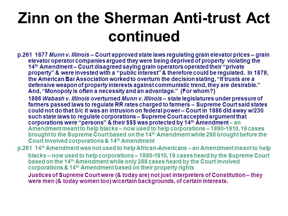 an interpretation of the us sherman anti trust act Congress passed the first antitrust law, the sherman act, in 1890 as a comprehensive charter of economic liberty aimed at preserving free and unfettered competition as the rule of trade in 1914, congress passed two additional antitrust laws: the federal trade commission act, which created the ftc, and the clayton act.