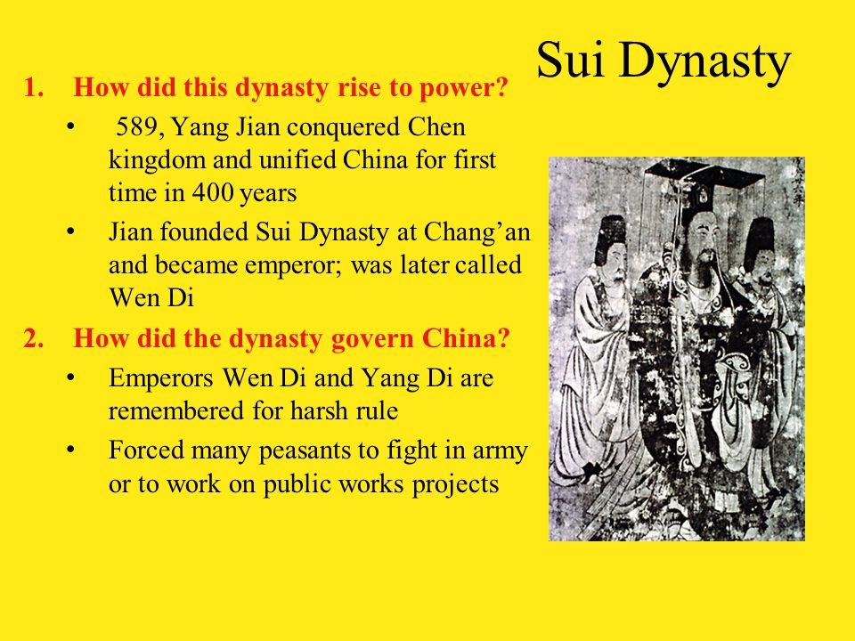 the sui dynasty essay Tang and song dynasty 9 of china during the sui, tang essay sample written strictly according to your requirements.