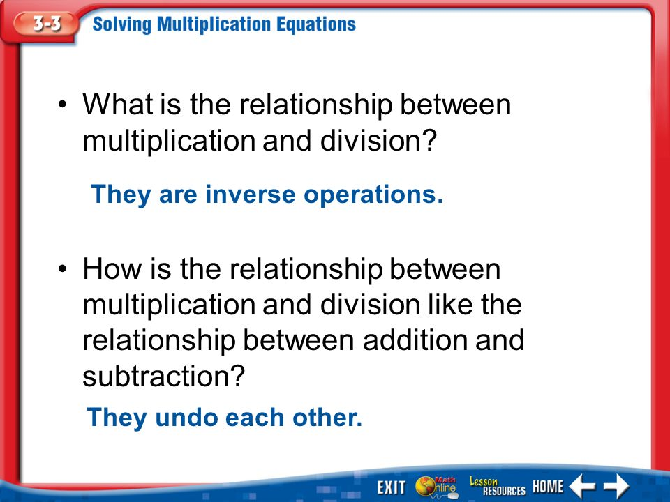 relationship between multiplication and division lesson plan