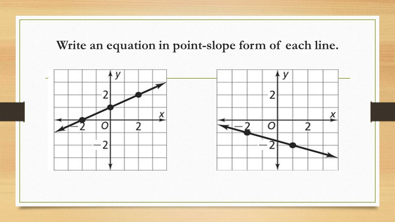write an equation for each line Where m is the slope of the line and b is the y-intercept you can use this equation to write an equation if you know the slope and the y-intercept.