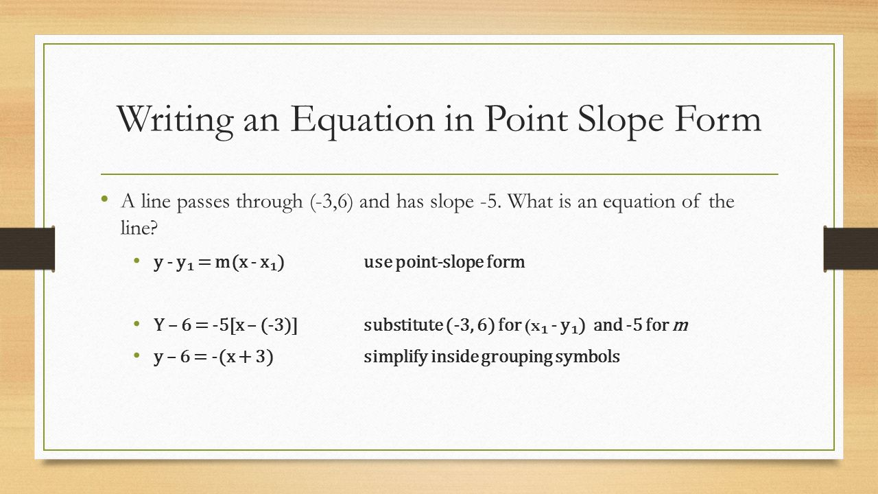 Slope-intercept equation from slope & point