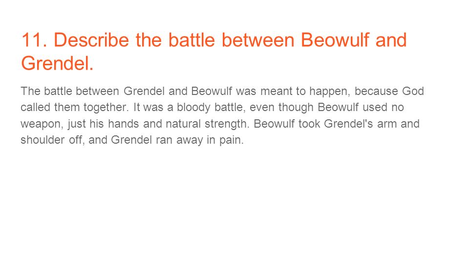the hero between beowulf and grendel The battle between grendel and beowulf is one of the most famous battles in english literature furthermore, grendel is considered to be one of the.