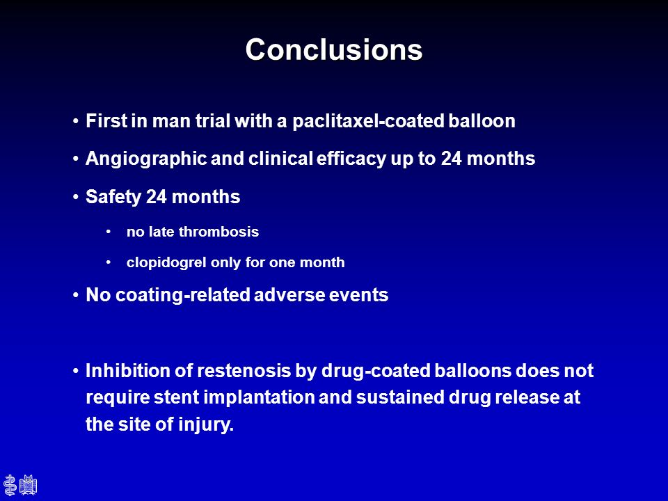 Conclusions First in man trial with a paclitaxel-coated balloon