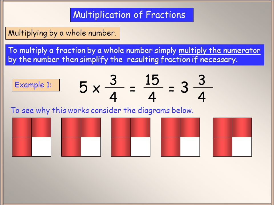 Whole Number 5 X 15 4 Multiplication Of Fractions Ppt Video