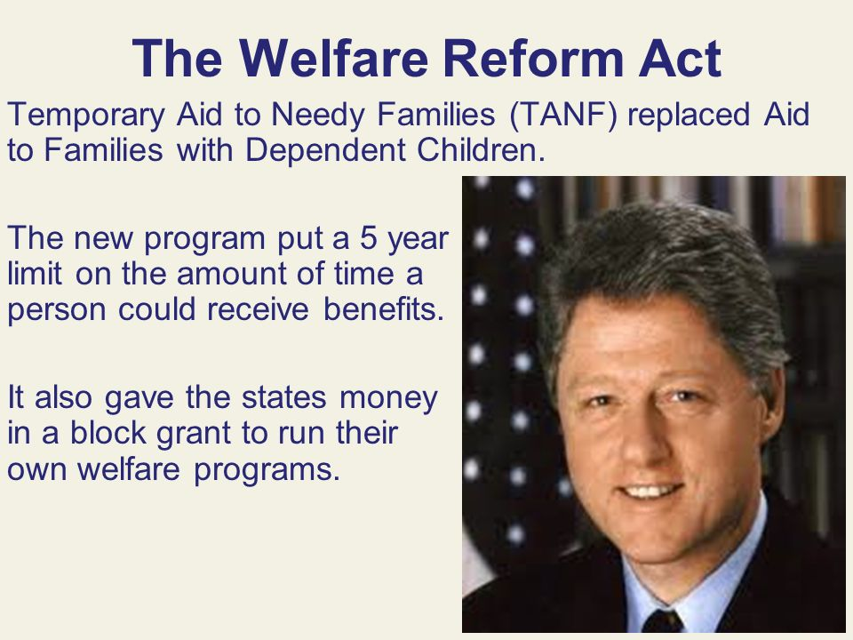welfare reform act This book examines the implementation of the 1996 national welfare reform act  and summarizes field-research findings to date the focus of this research is on.