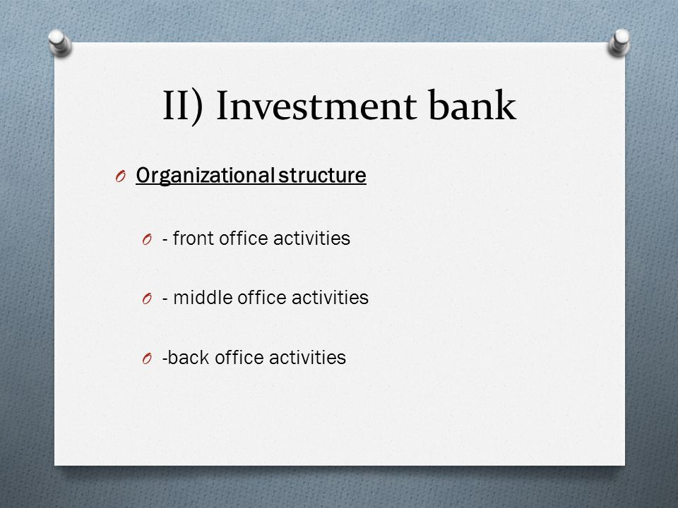 activities of investment banking Discover the fields of activity : corporate and institutional banking - the bank for a   financing needs of corporate clients with the investment needs of institutional.