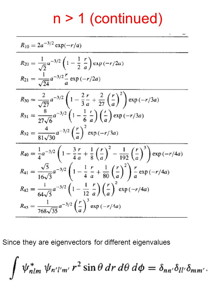 n > 1 (continued) Since they are eigenvectors for different eigenvalues