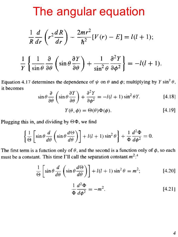 The angular equation