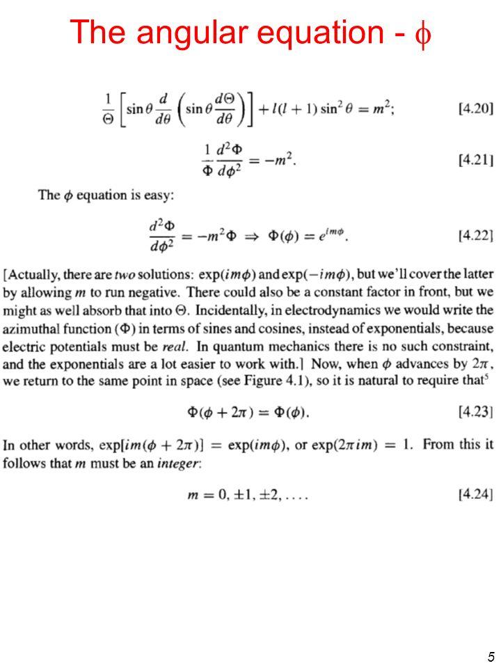 The angular equation - f