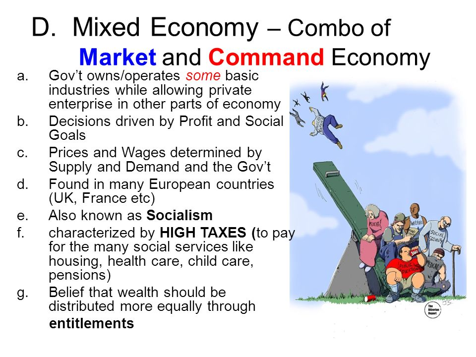 about mix market economy Since a mixed economy includes a mix of both private and government control, it reflects characteristics of both capitalism and socialism the balance between the two ideals can vary greatly between.