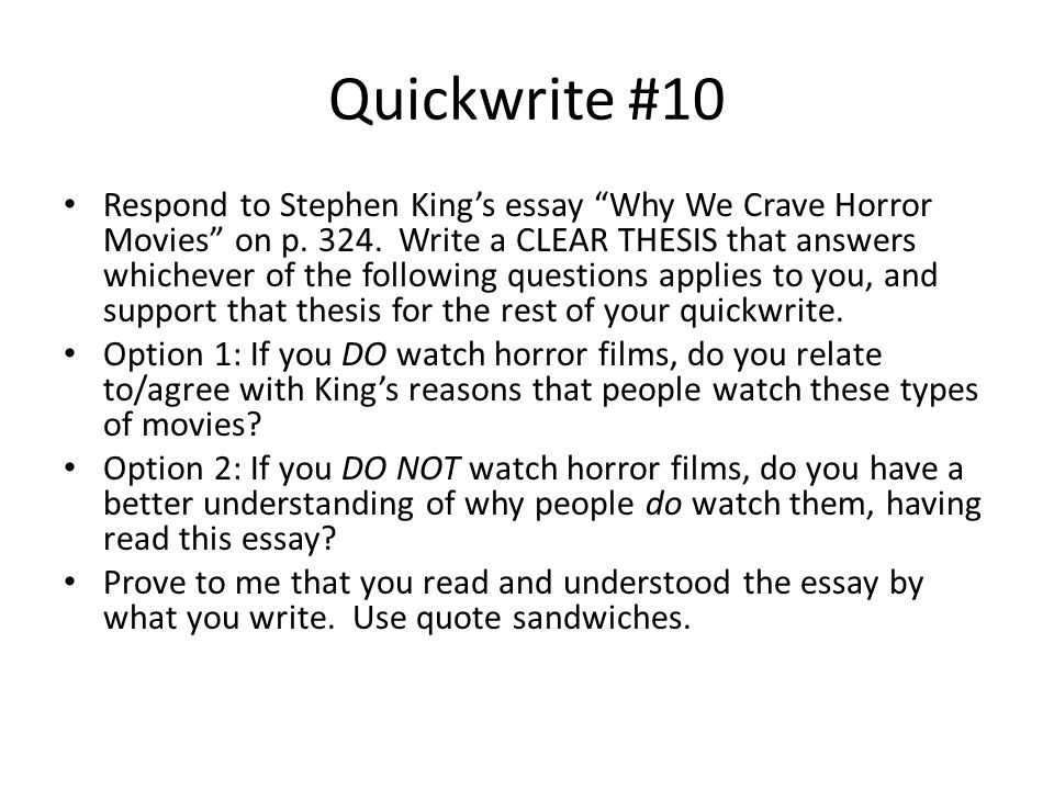 essay questions on horror