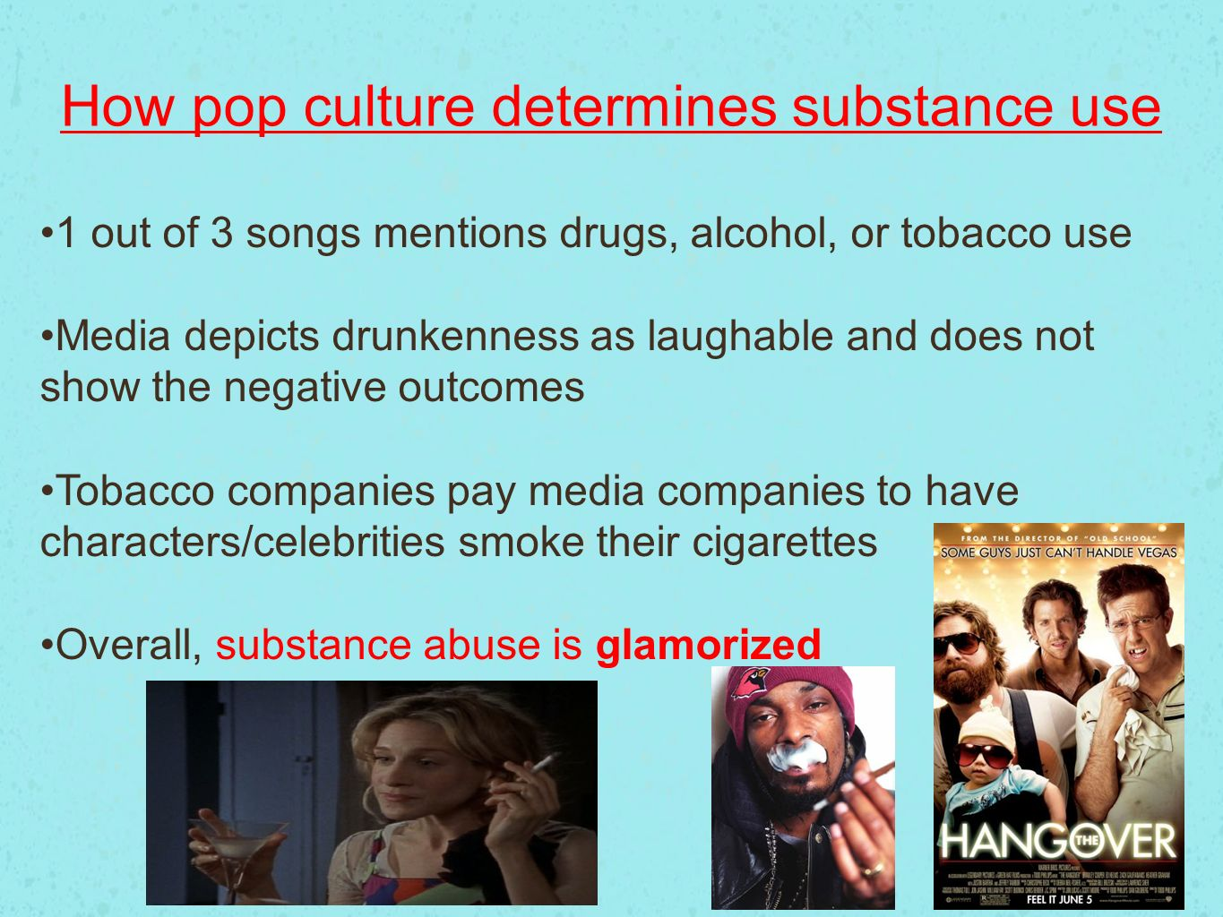 drugs and music in popular culture The popular music of our day reflects the culture of our day  there are a  plethora of songs with lyrics that glorify sex, drugs, and violence.
