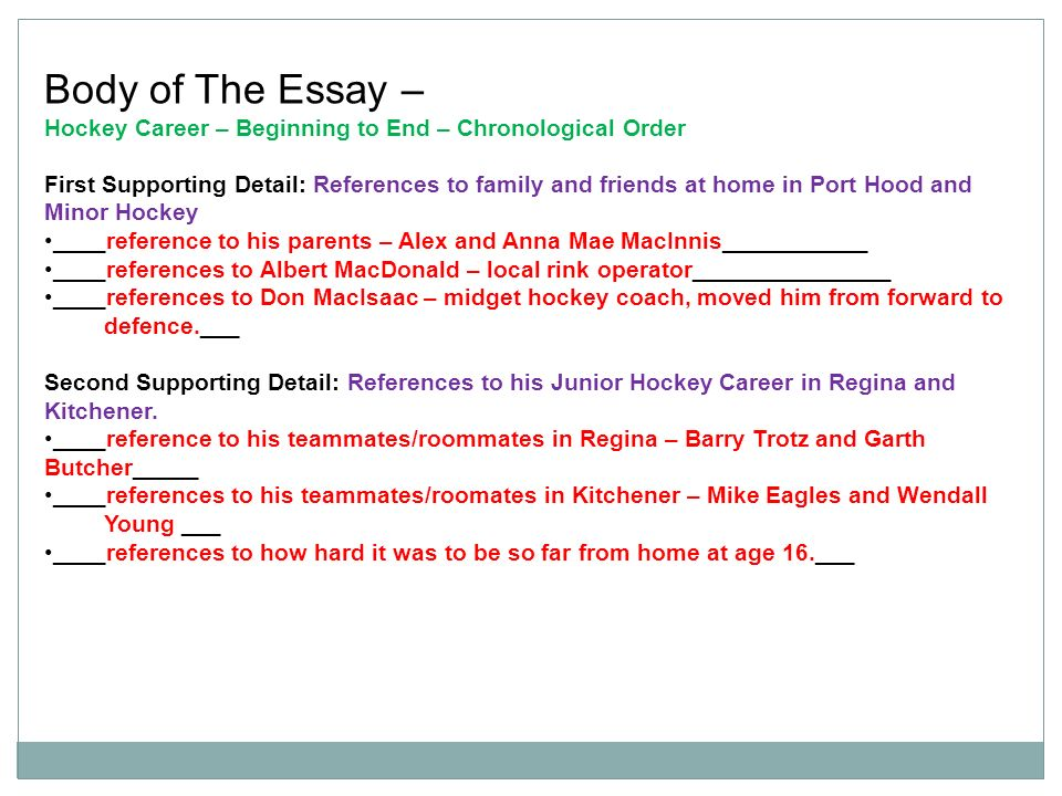 mrs c morgan grade english ppt video online  body of the essay hockey career beginning to end chronological order
