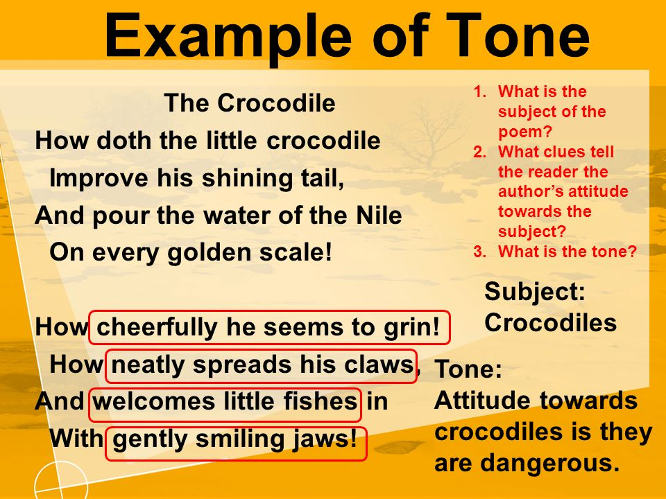 examples of tone in poetry