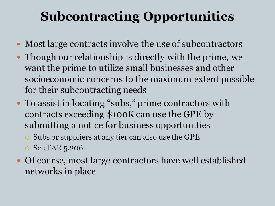 relationship of far and ucc in subcontracting