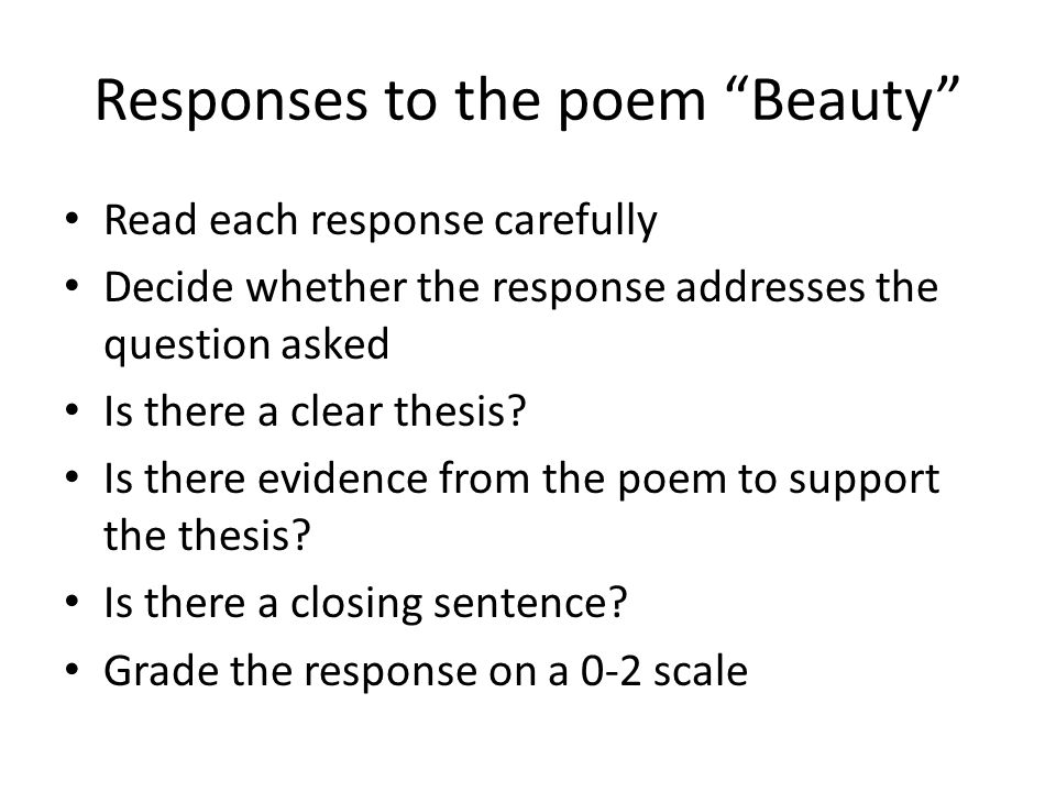 Responses to the poem Beauty