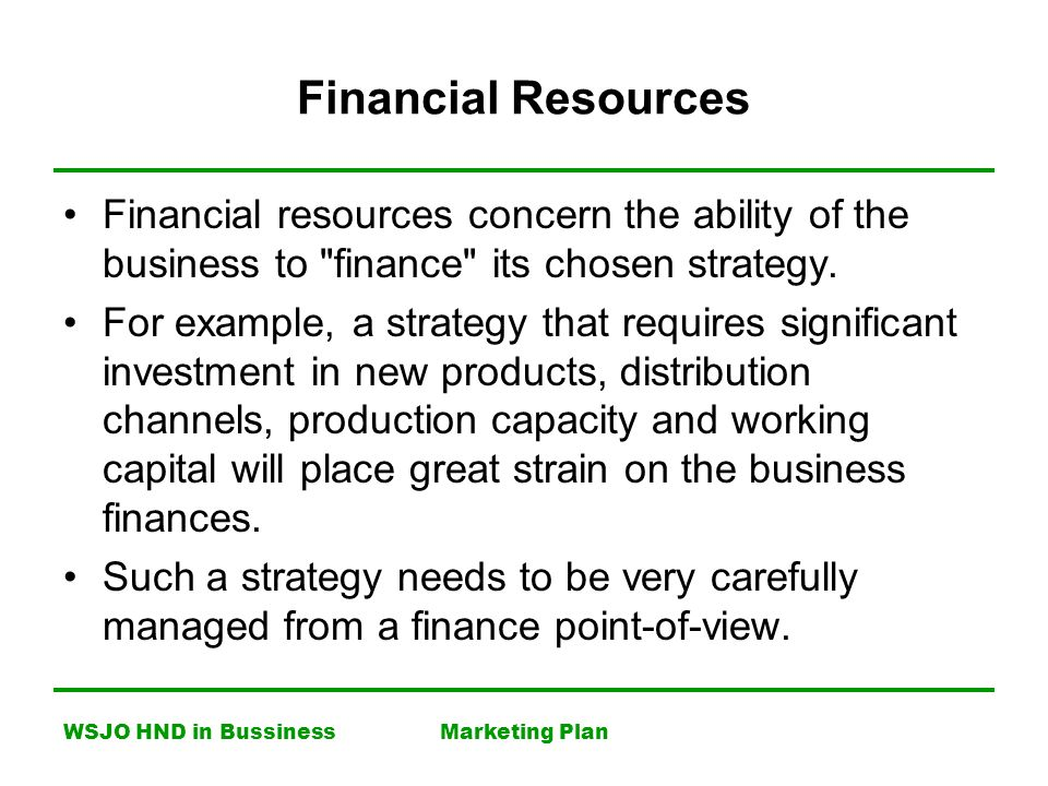 Physical resources business plan