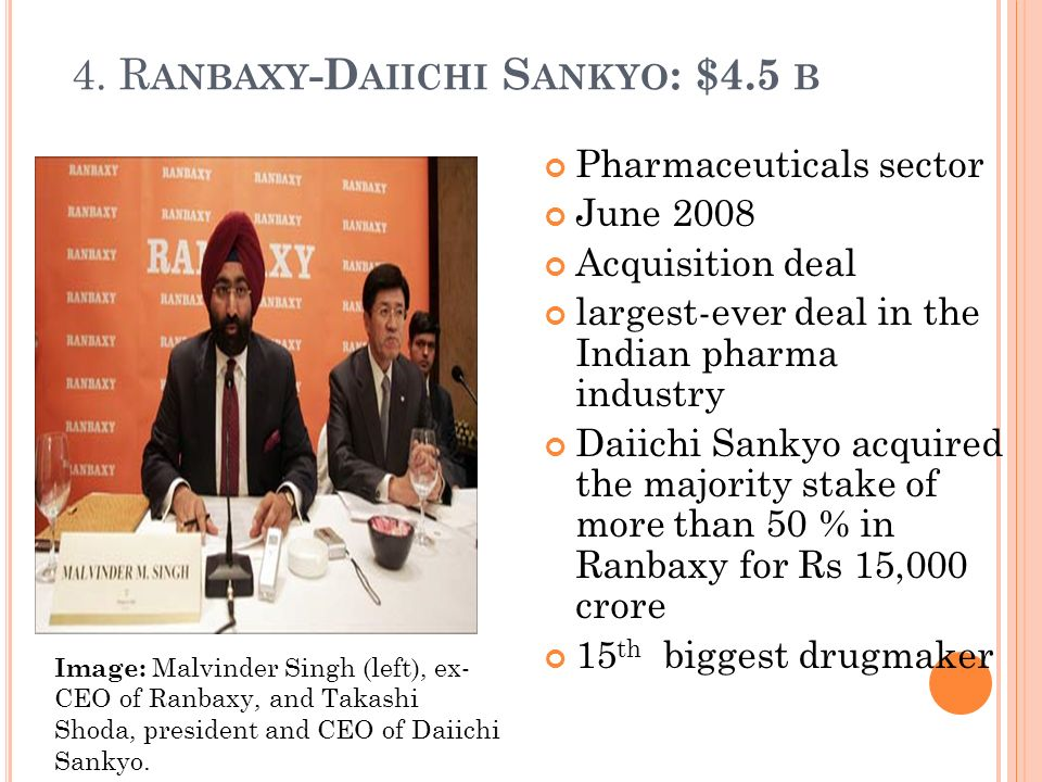 daiichis acquisition of ranbaxy Acquisitions & mergers market following a growth through acquisition strategy is not a new way for companies to increase their market presence.
