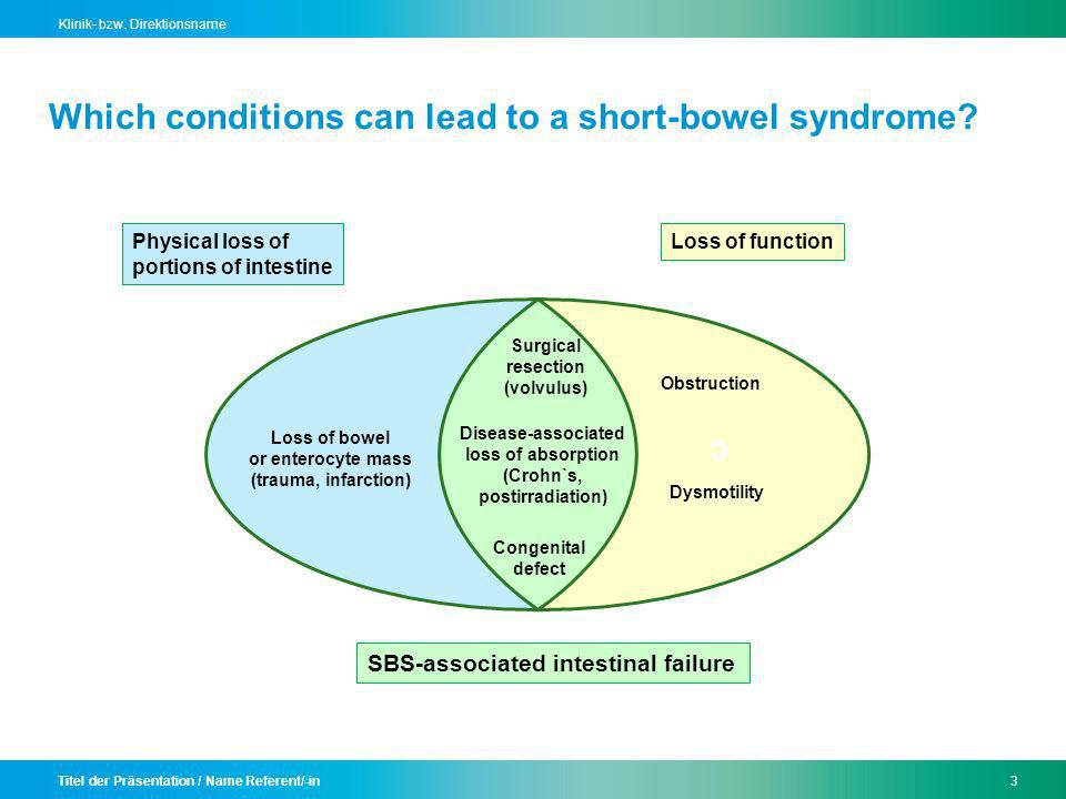 Which conditions can lead to a short-bowel syndrome