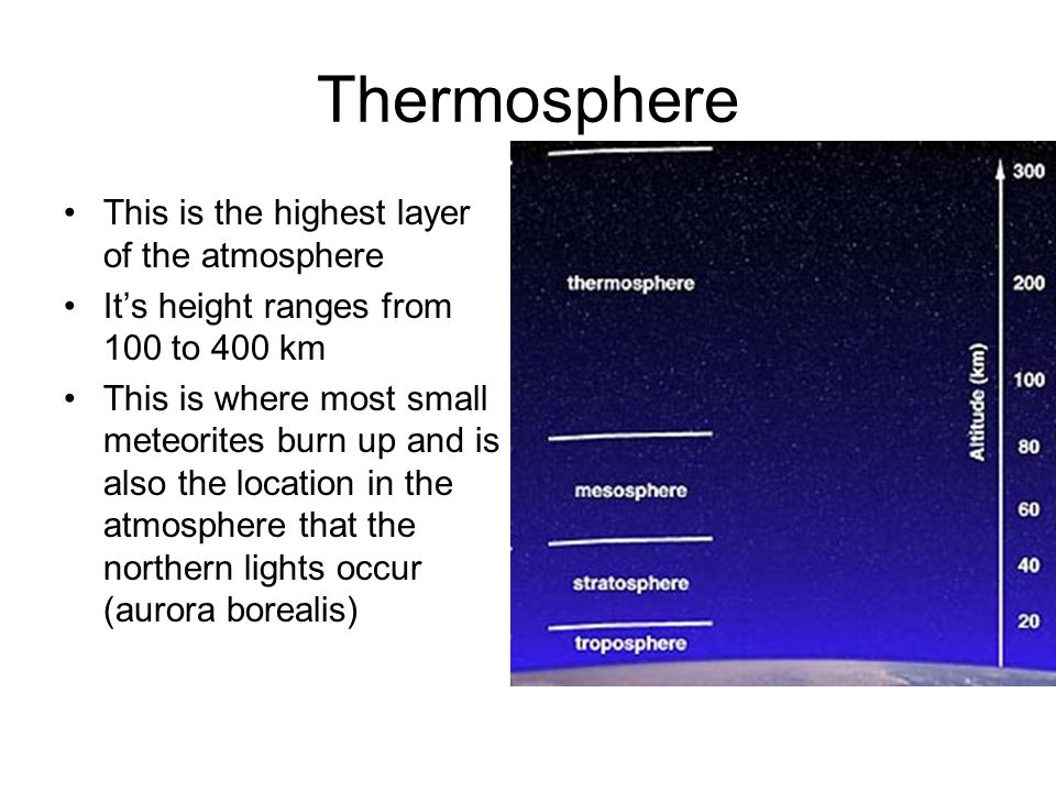 Thermosphere This is the highest layer of the atmosphere