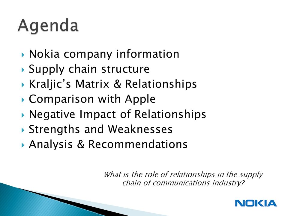 company structure of nokia Last week, nokia's new ceo steven elop wrote a scathing memo to his team at nokia, describing the company's declining market position in mobile phones as a burning platform such direct and blunt language is unusual in most corporate settings, and shows how seriously elop views nokia's troubles.