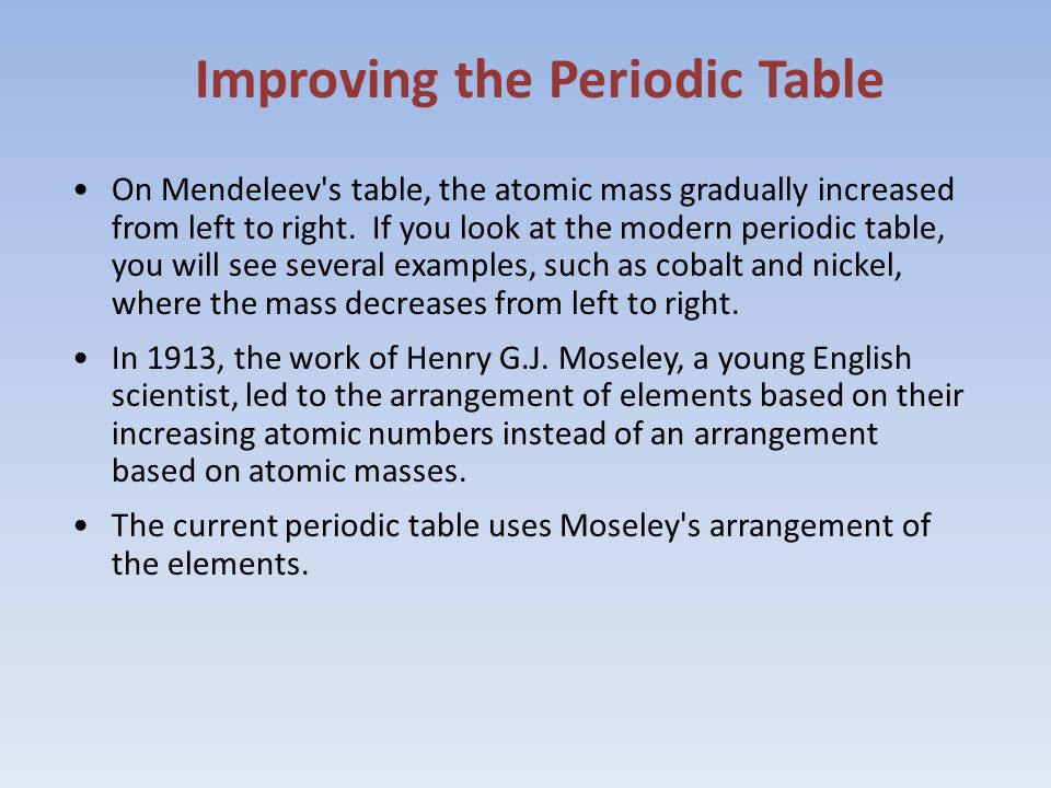 Atoms and periodic table ppt video online download improving the periodic table urtaz Images