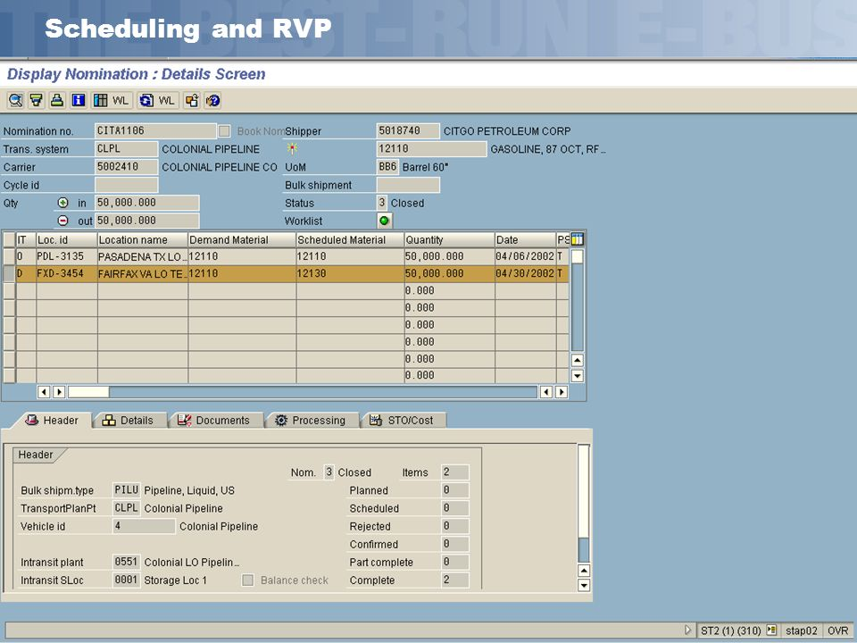 Scheduling and RVP Handling of RVP from scheduling/actualization perspective works very well.