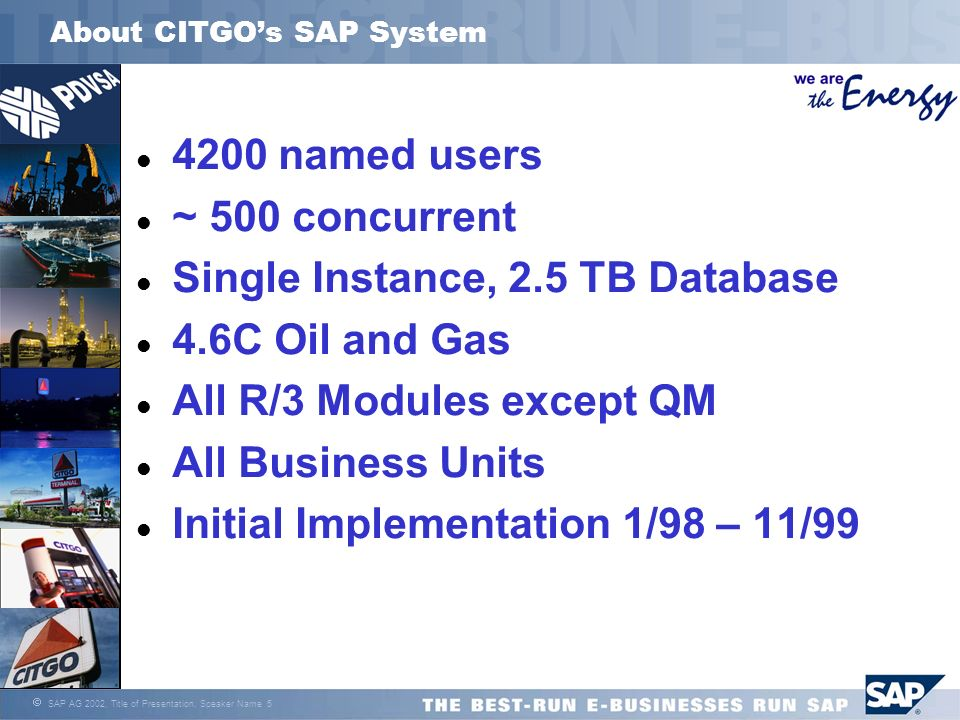 About CITGO's SAP System
