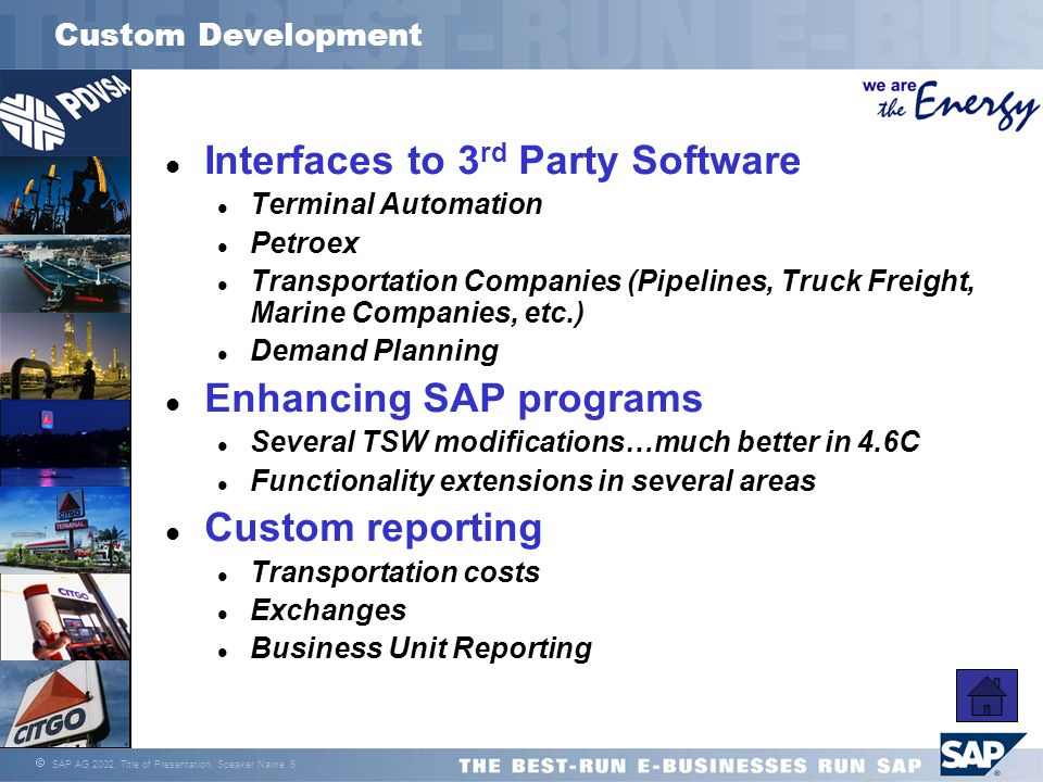 Interfaces to 3rd Party Software
