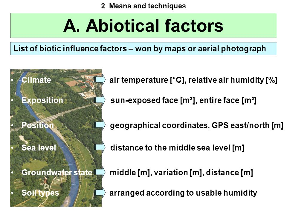 2 Means and techniques A. Abiotical factors. List of biotic influence factors – won by maps or aerial photograph.