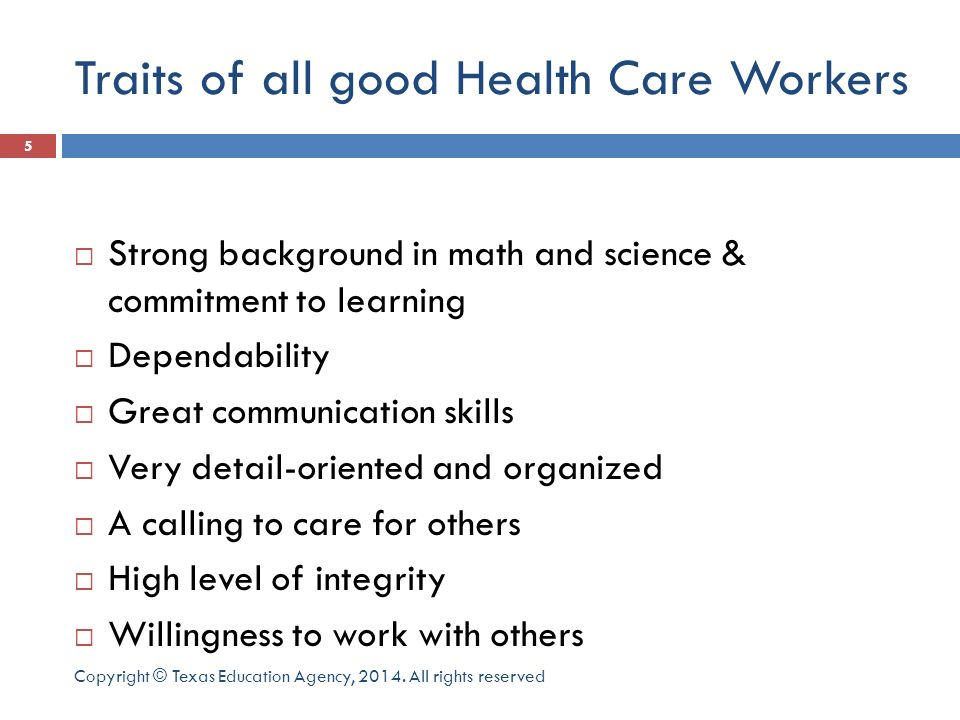 Traits of all good Health Care Workers