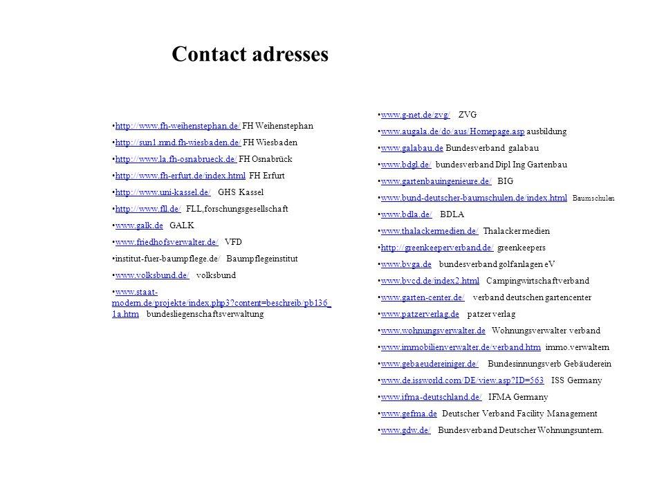 Contact adresses www.g-net.de/zvg/ ZVG
