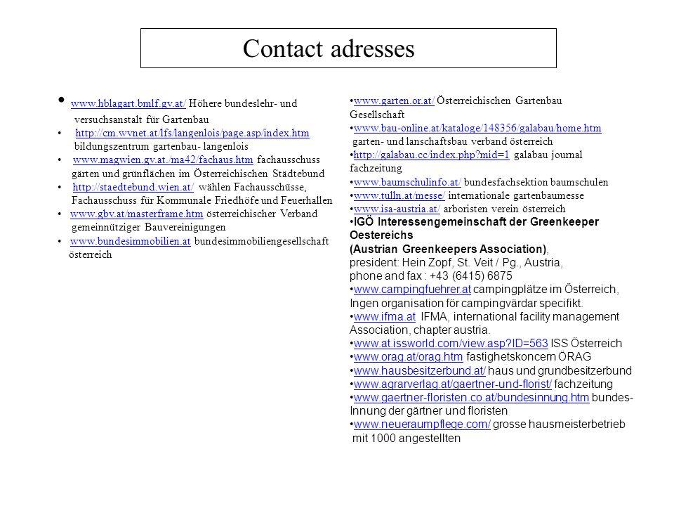 Contact adresses www.hblagart.bmlf.gv.at/ Höhere bundeslehr- und