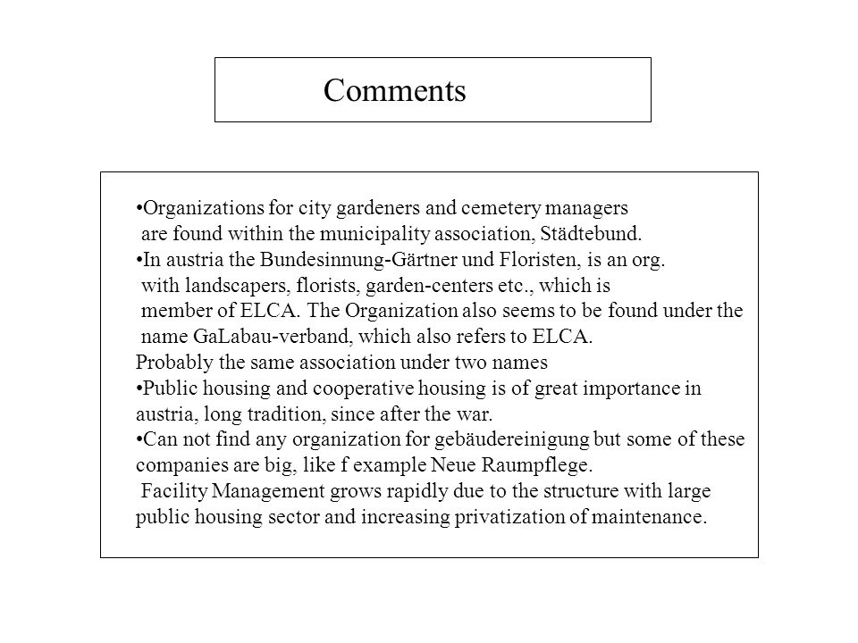 Comments Organizations for city gardeners and cemetery managers