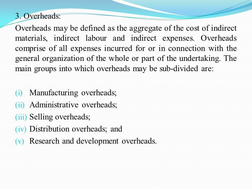 3. Overheads: