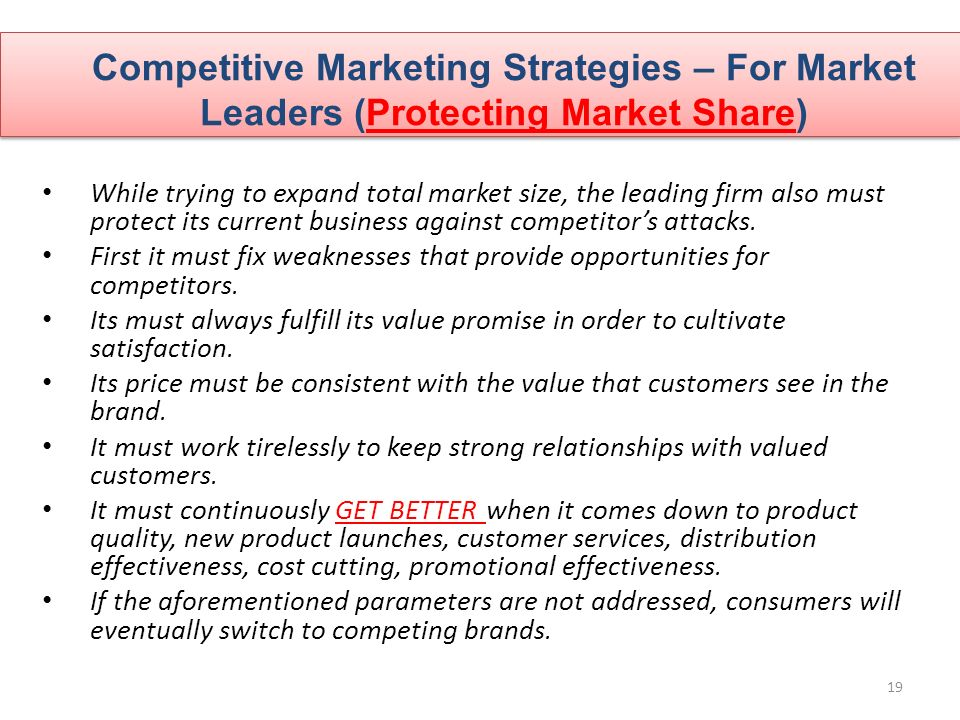 competitive strategies for market leaders Three competitive strategies for your business 04292014 / posted in articles , strategy note: this is the second article in a series on competitive strategy from frogdog.