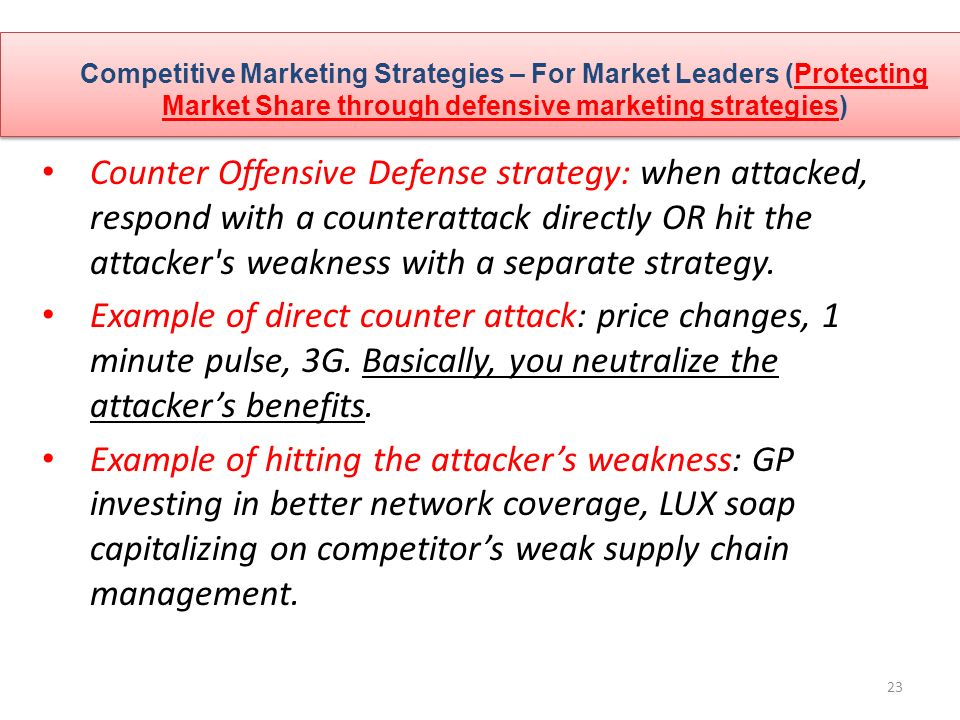 competitive strategies for market leaders The five key competitive strategies a low-cost leader strategy: or market-niche, strategy based on differentiation.
