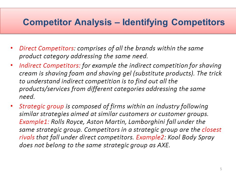 5 Competitor Analysis U2013 Identifying Competitors  Competitive Analysis Example