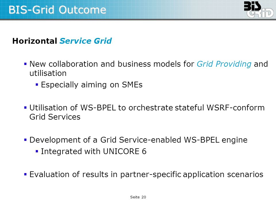 BIS-Grid Outcome Horizontal Service Grid