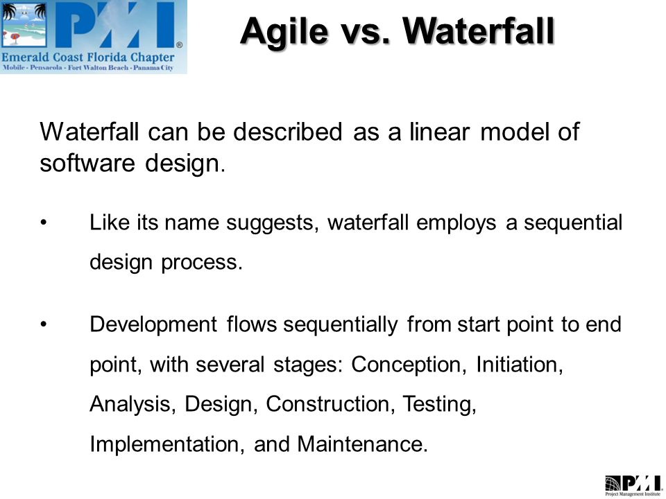 Agile vs waterfall what is agile methodology ppt video for Waterfall vs design thinking