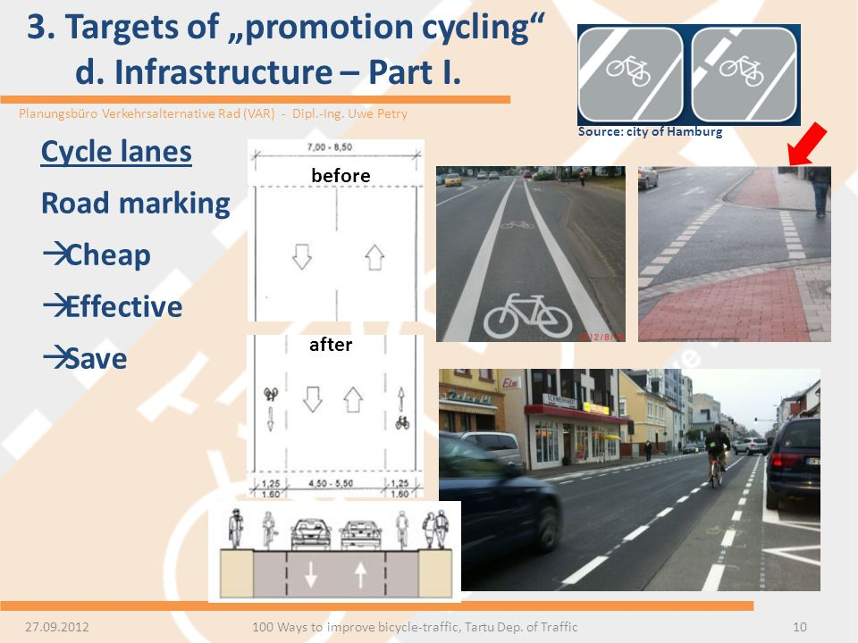 "3. Targets of ""promotion cycling d. Infrastructure – Part I."