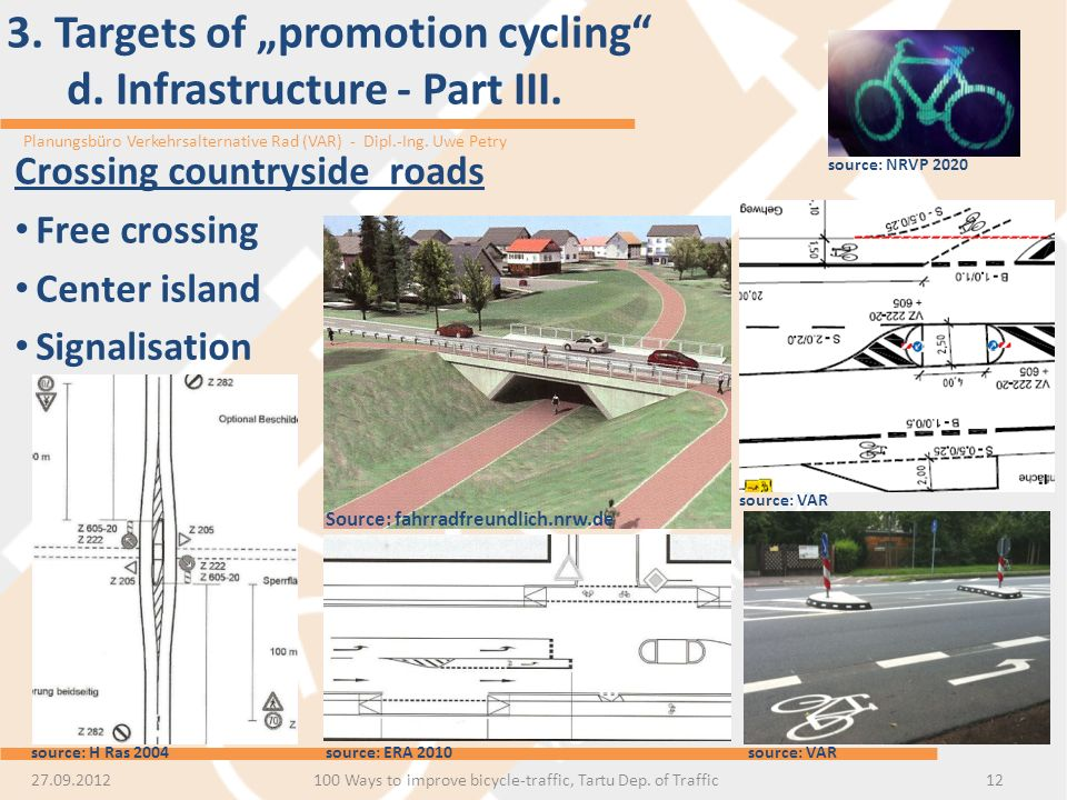 "3. Targets of ""promotion cycling d. Infrastructure - Part III."