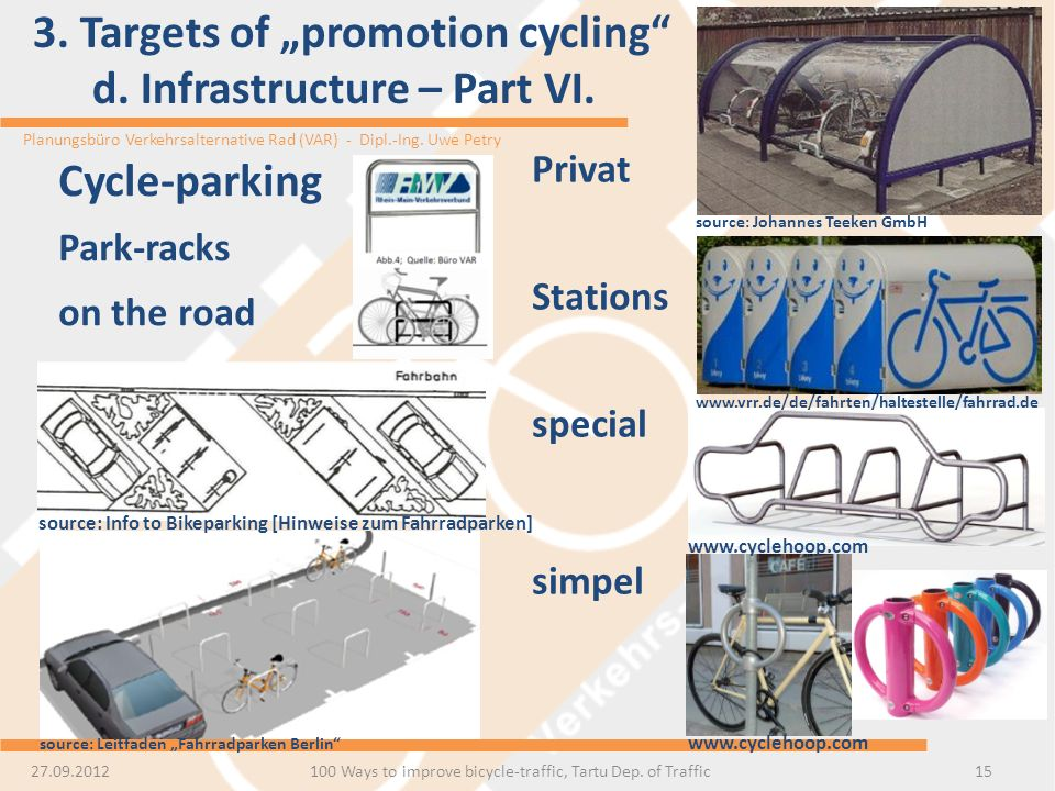 "3. Targets of ""promotion cycling d. Infrastructure – Part VI."
