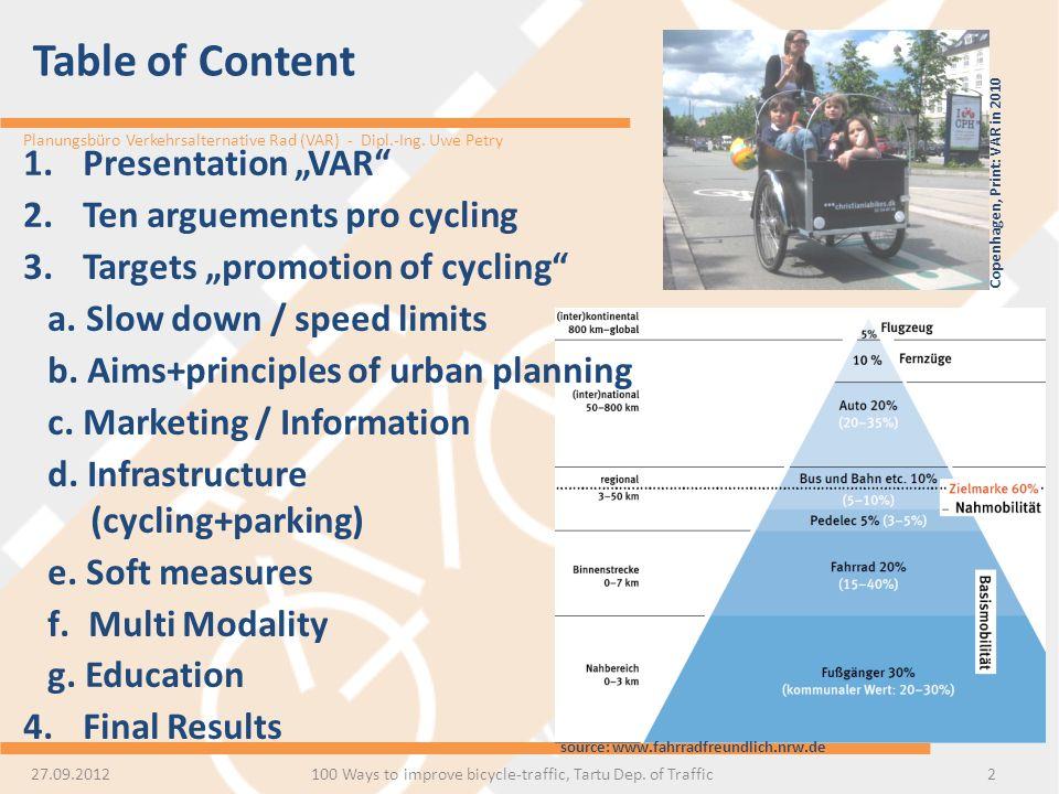 100 Ways to improve bicycle-traffic, Tartu Dep. of Traffic