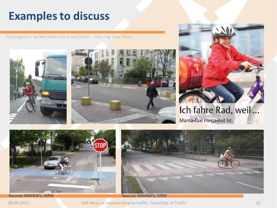 100 Ways to improve bicycle-traffic, Tartu Dep. of Traffic