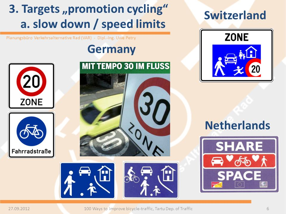 "3. Targets ""promotion cycling a. slow down / speed limits"
