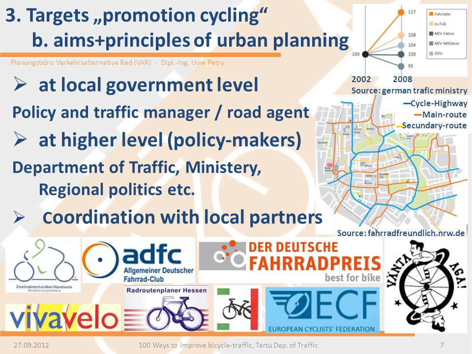 "3. Targets ""promotion cycling b. aims+principles of urban planning"