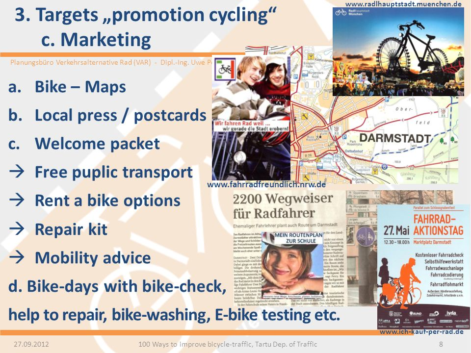 "3. Targets ""promotion cycling c. Marketing"