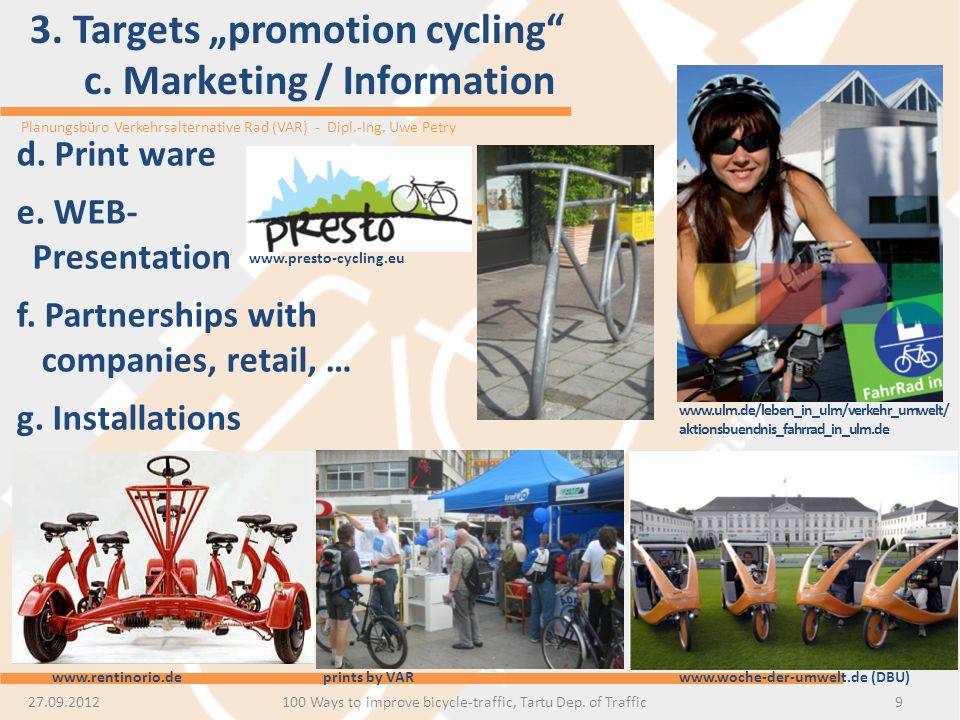 "3. Targets ""promotion cycling c. Marketing / Information"