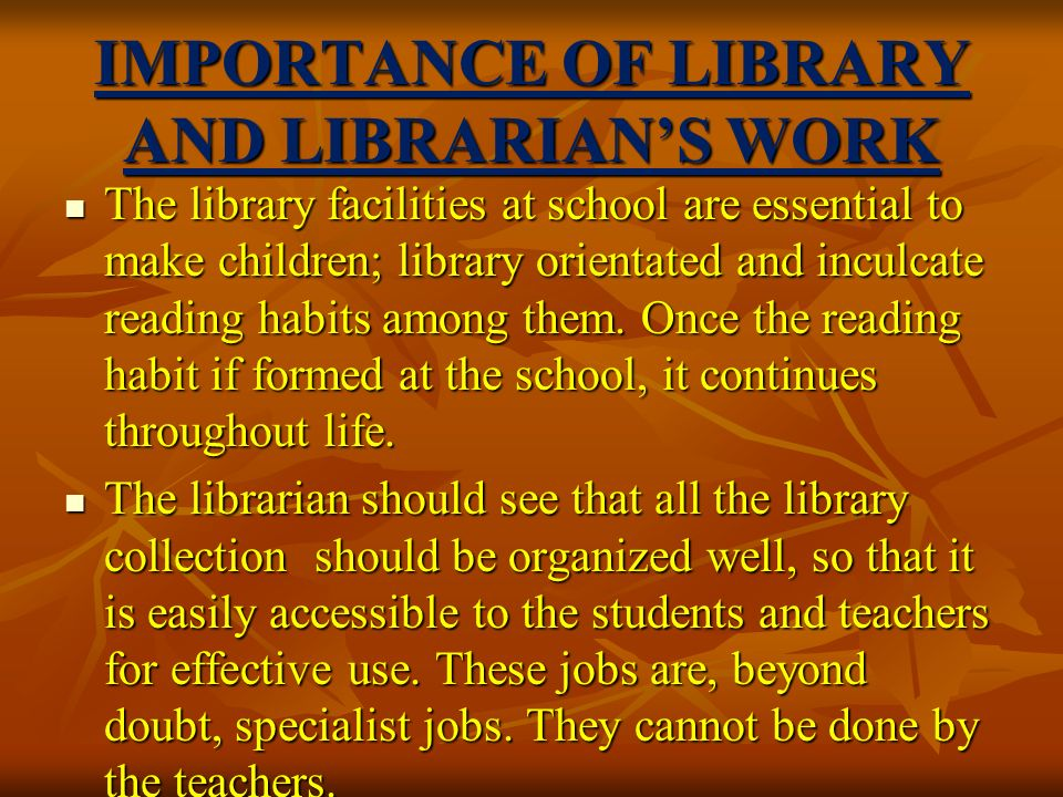 the importance of libraries for college students College and career readiness: the importance of early learning  low-income students in 2012 met the act college  in libraries and on the internet is not enough.